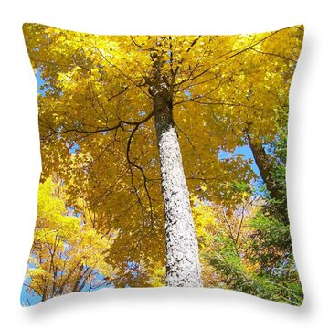 The Yellow Umbrella - Photograph Throw Pillow by Jackie Mueller-Jones