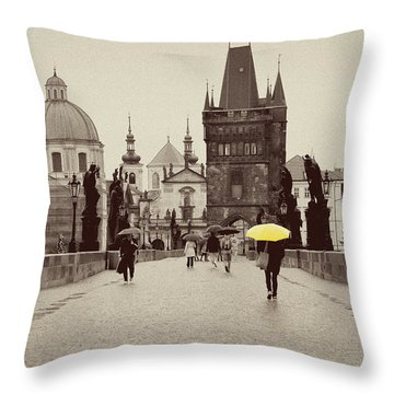The Yellow Umbrella For Erin Throw Pillow