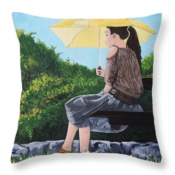 The Yellow Umbrella Throw Pillow by Reb Frost