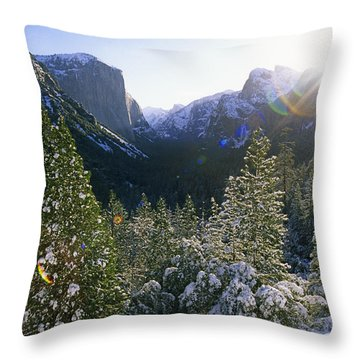 The Yosemite Valley In Winter Throw Pillow