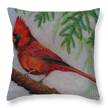 The Young Cardinal Throw Pillow