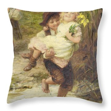 The Young Gallant Throw Pillow by Fred Morgan