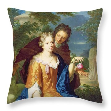 The Young Lovers Throw Pillow by Gerard Hoet
