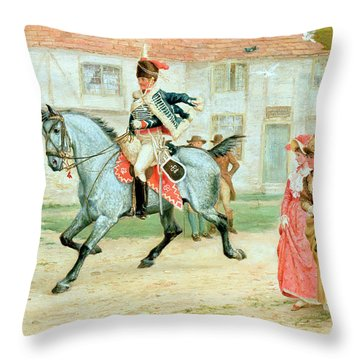 The Young Subaltern Throw Pillow by Richard Cattermole