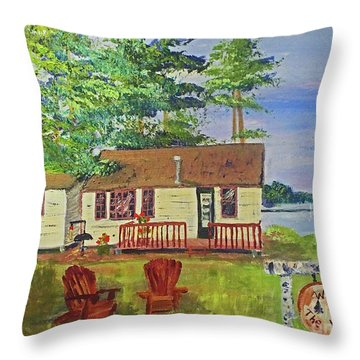 The Young's Camp Throw Pillow