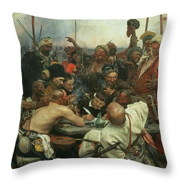 The Zaporozhye Cossacks Writing A Letter To The Turkish Sultan Throw Pillow