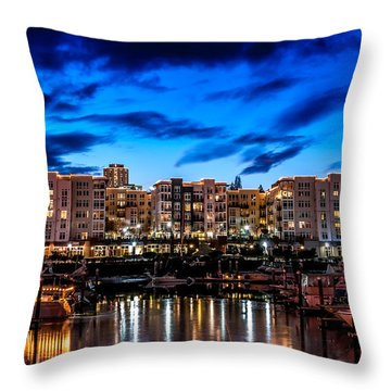Thea's Landing And Waterfront At Night Throw Pillow