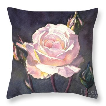 Throw Pillow featuring the painting Thea's Rose by Sandra Phryce-Jones