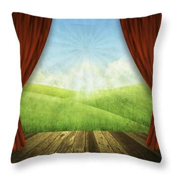 Theater Stage With Red Curtains And Nature Background  Throw Pillow by Setsiri Silapasuwanchai