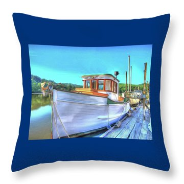 Thee Old Dragger Boat Throw Pillow by Thom Zehrfeld