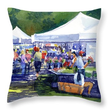 Theinsville Farmers Market Throw Pillow