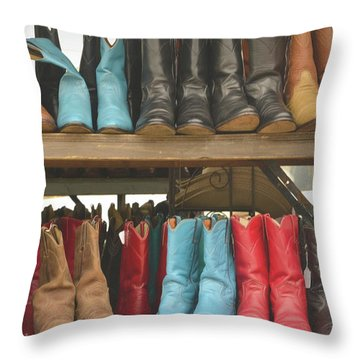 Them Boots, Turquoise And Red Throw Pillow