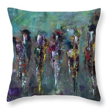 Then Came Seven Horses Throw Pillow