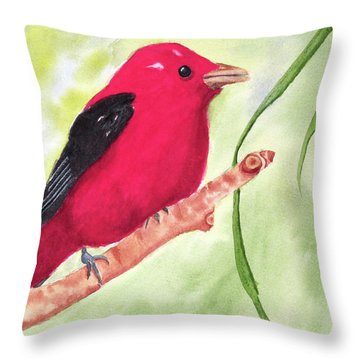 Theodore Tanager Throw Pillow