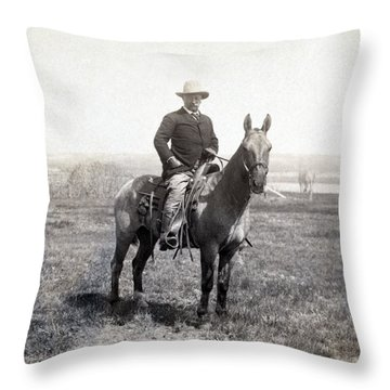 Theodore Roosevelt Horseback - C 1903 Throw Pillow