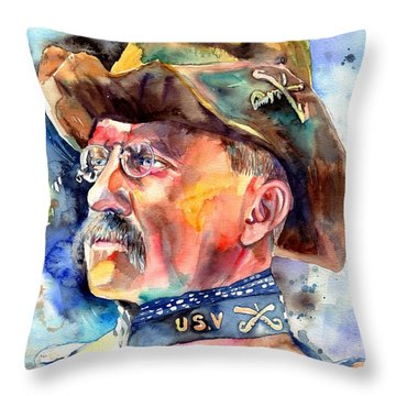 Theodore Roosevelt Painting Throw Pillow