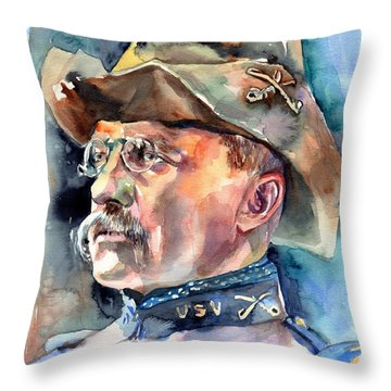 Theodore Roosevelt Portrait Watercolor Throw Pillow