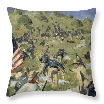 Theodore Roosevelt Taking The Saint Juan Heights Throw Pillow by Vasili Vasilievich Vereshchagin