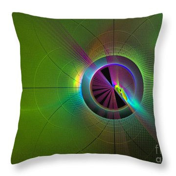 Throw Pillow featuring the digital art Theory Of Green - Abstract Art by Sipo Liimatainen