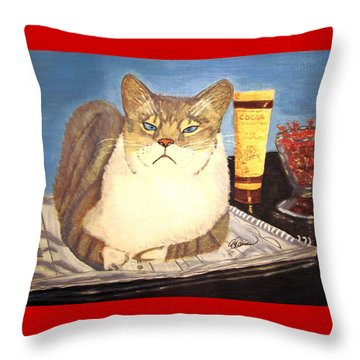 Therapy Cat Throw Pillow by Angela Davies