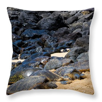Throw Pillow featuring the photograph There Has Got To Be More Room On This Beach  by Jim Thompson