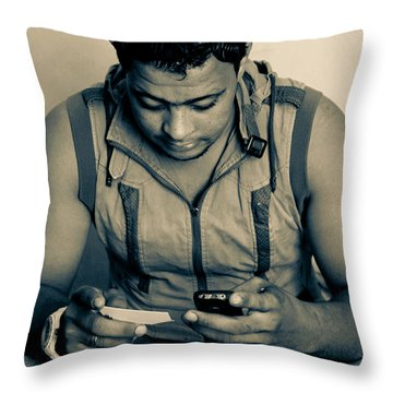 Throw Pillow featuring the photograph There Is A World Outside Your Phone by Jez C Self