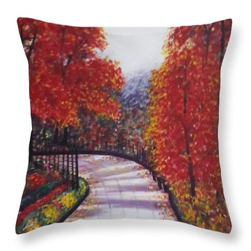 There Is Always A Bright Road Ahead Throw Pillow by Usha Rai