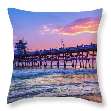 There Will Be Another One - San Clemente Pier Sunset Throw Pillow