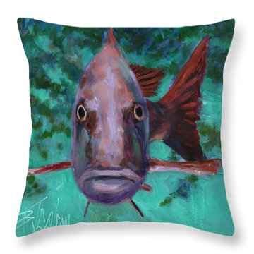 Throw Pillow featuring the painting There's Something Fishy Going On Here by Billie Colson