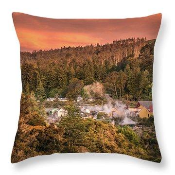 Thermal Village Rotorua Throw Pillow