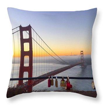 Golden Gate Bridge Padlocks  Throw Pillow by Eugene Evon