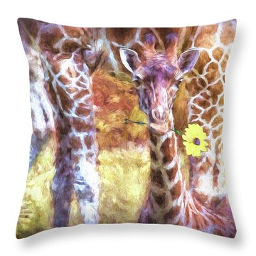 The Whimsical Giraffe  Throw Pillow