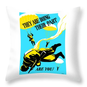 Throw Pillow featuring the painting They Are Doing Their Part - Are You by War Is Hell Store