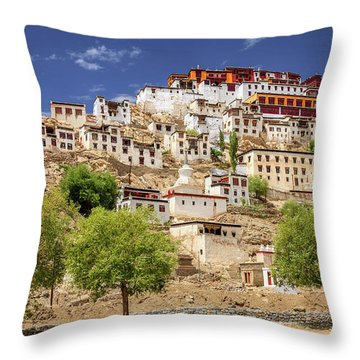 Throw Pillow featuring the photograph Thikse Monastery by Alexey Stiop