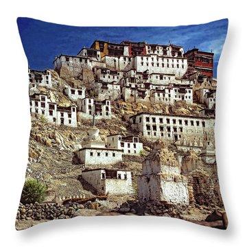 Thiksey Monastery Throw Pillow by Steve Harrington