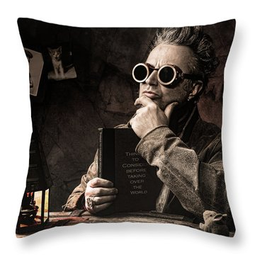 Throw Pillow featuring the photograph Things To Consider - Steampunk - World Domination by Gary Heller