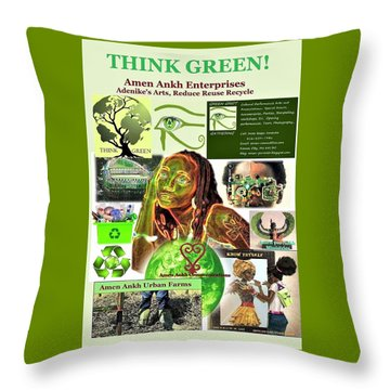 Think Green Throw Pillow