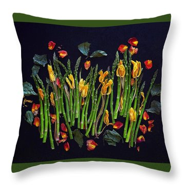 Think Spring Asparagus Throw Pillow