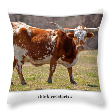 Think Vegetarian Throw Pillow