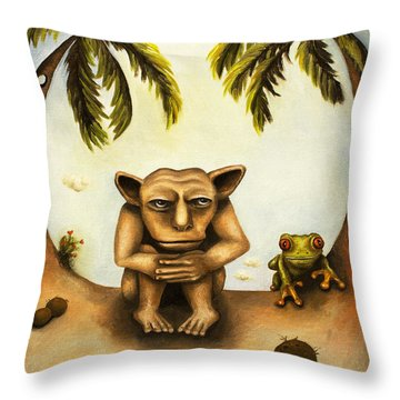 Thinking About Coconuts Throw Pillow by Leah Saulnier The Painting Maniac