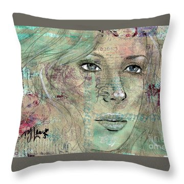 Throw Pillow featuring the drawing Thinking Back by P J Lewis