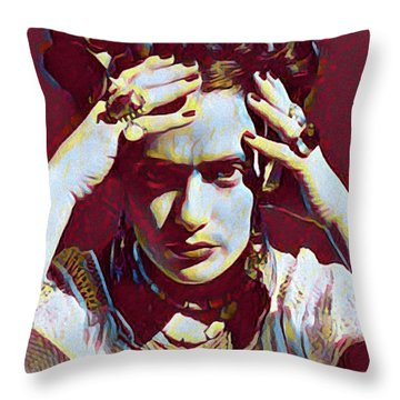 Thinking Frida Throw Pillow
