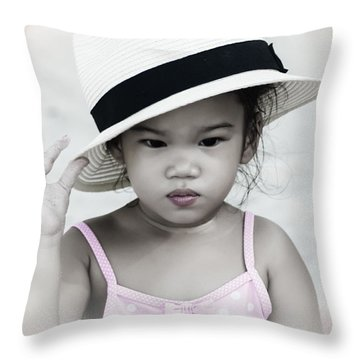 Thinking Throw Pillow by Michelle Meenawong