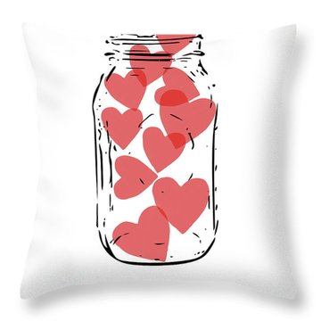 Thinking Of You Jar Of Hearts- Art By Linda Woods Throw Pillow