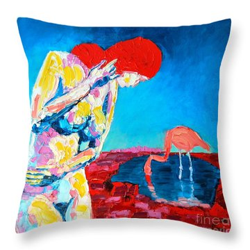 Throw Pillow featuring the painting Thinking Woman by Ana Maria Edulescu