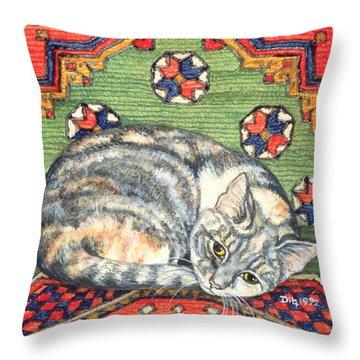 Third Carpet Cat Patch Throw Pillow