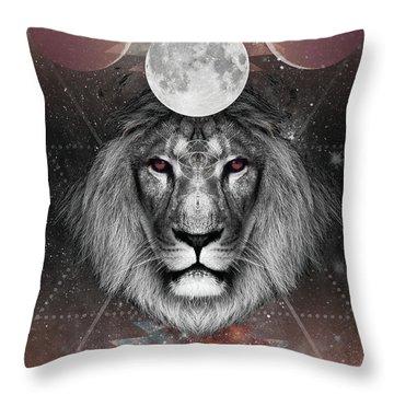 Third Eye Lion Vision Throw Pillow by Lori Menna