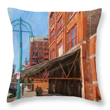 Third Ward - Broadway Awning Throw Pillow by Anita Burgermeister