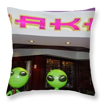 Thirsty Aliens Desire Sake Throw Pillow