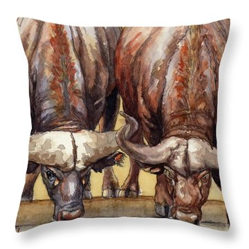Thirsty Buffalo  Throw Pillow